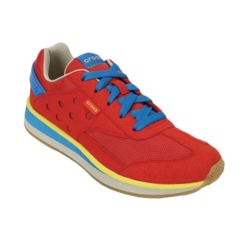 Crocs Retro Merah Biru Sepatu Casual Wanita