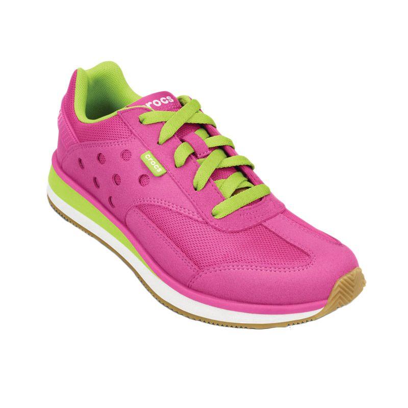 Crocs Retro Sneaker Fuschia Volt Green Sepatu Casual Wanita