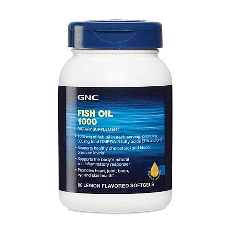 GNC Fish Oil Lemon Flavour Taste Suplemen [1000 mg/90 Kapsul]