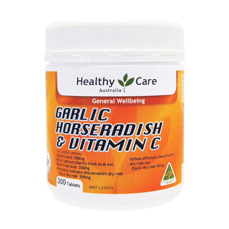 Healthy Care Horseradish Garlic and Vitamin C Suplemen Kesehatan [300 Tablets]
