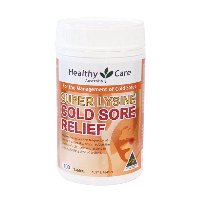 Healthy Care Super Lysine Cold Sore Relief Suplemen [1000 mg/100 Tablets]