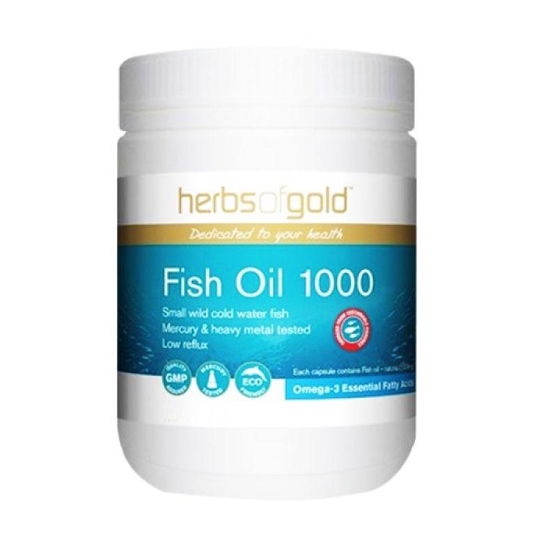 Herbs of Gold Premium Fish Oil Suplemen Kesehatan [200 Capsules]