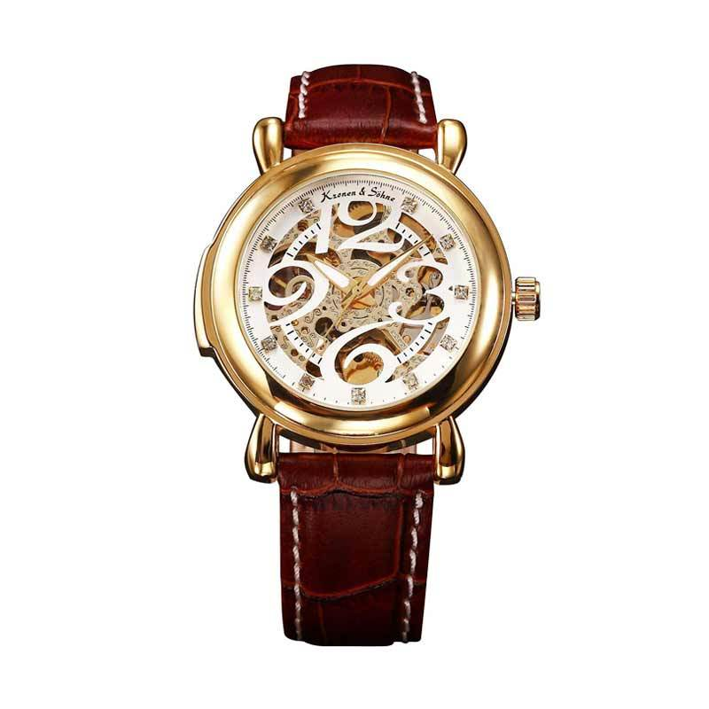 KS (Kronen & Sohne) KS105 Jam Tangan Casual Gold - Brown