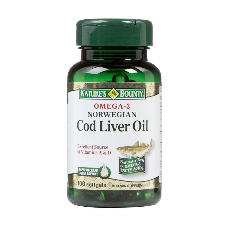 Nature's Bounty Omega 3 Norwegian Cod Liver Oil Suplemen Kesehatan [100 Softgels]