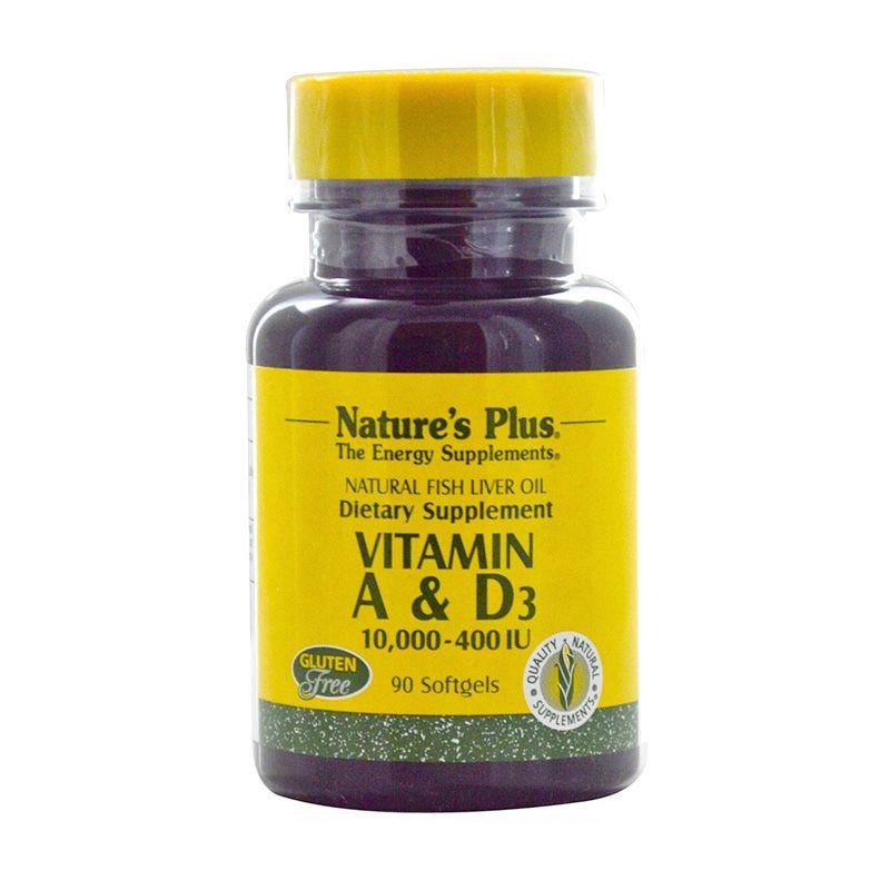 Nature's Plus Vitamin A & D3 Suplemen Energi [10.000/400 IU/90 Softgels]