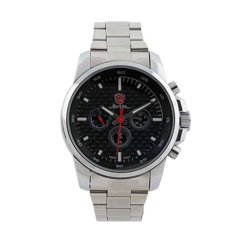 Shark Analog Chrono Watch Silver Black SH020
