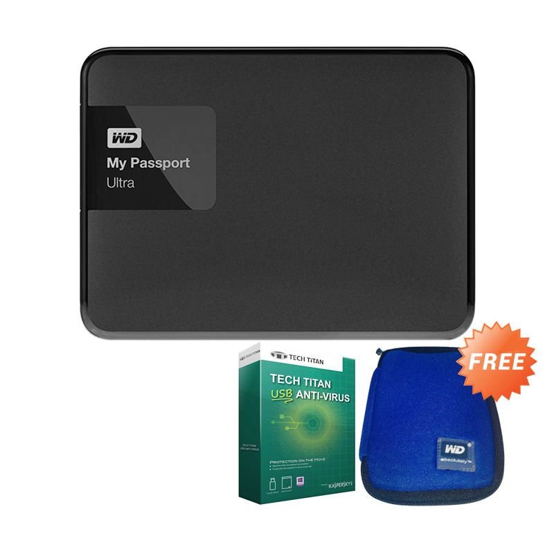 WD My Passport Ultra Premium HDD 1TB Black + Pouch