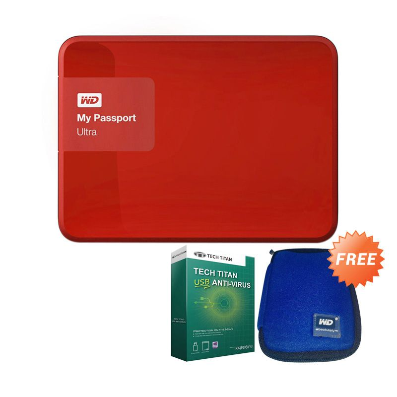 WD My Passport Ultra Premium HDD 1TB Red + Pouch