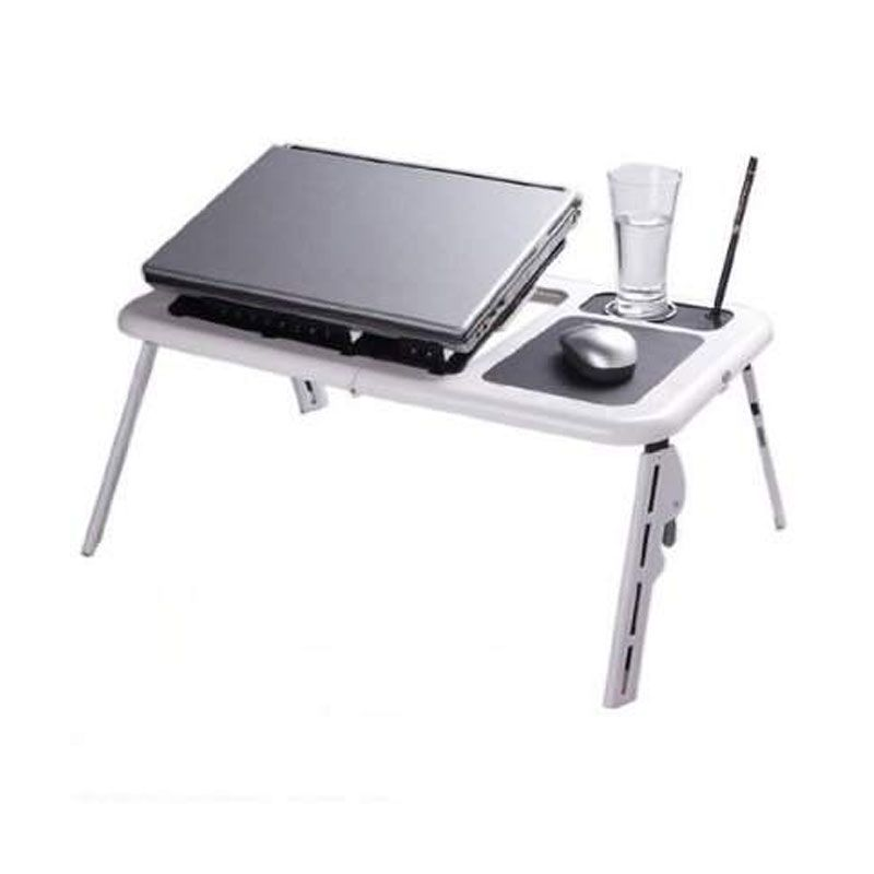 e-table Putih Meja Laptop Portable with Cooling Fan
