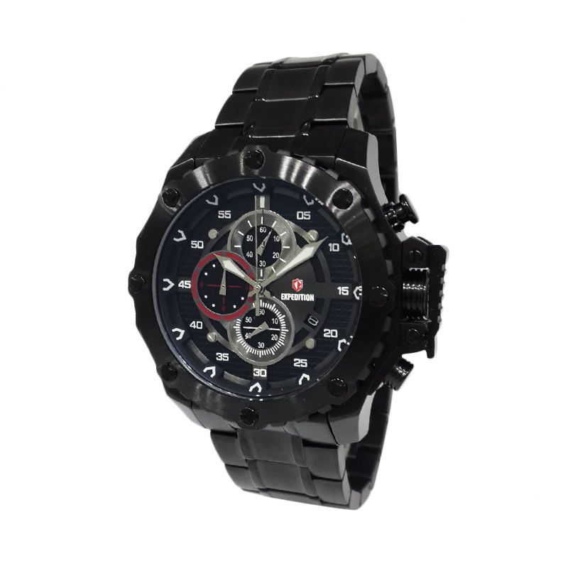 Expedition 6668MCBIPBARE Black IP Jam Tangan Pria