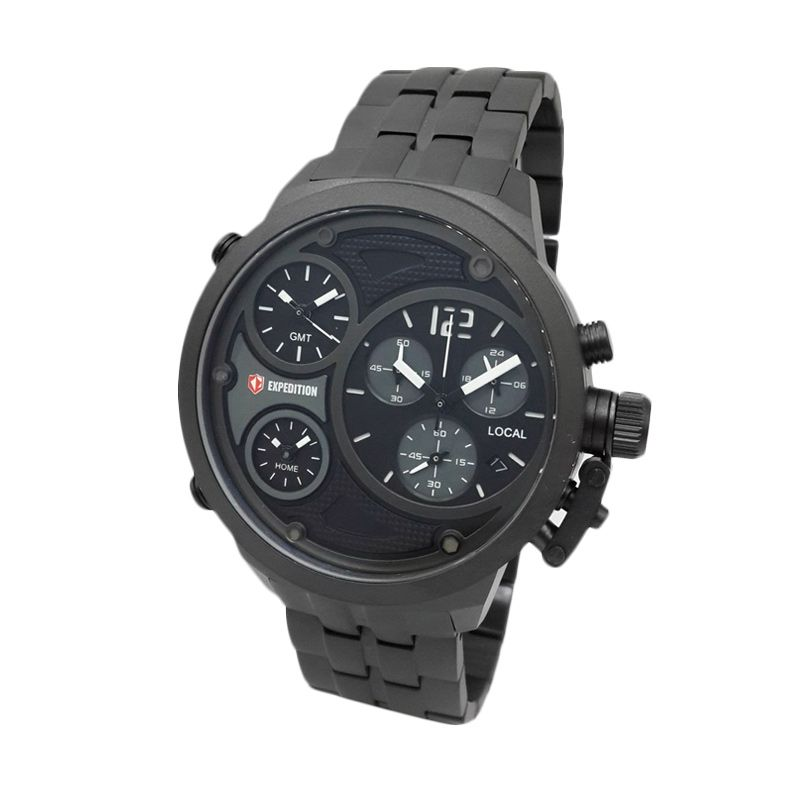 Expedition Triple Time Zones 6630MTBIPBASL Black Jam Tangan Pria