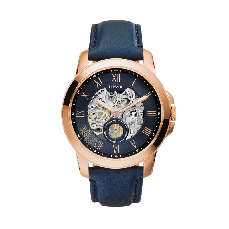 Fossil Grant Automatic ME3054 Rose Gold Blue Jam Tangan Pria