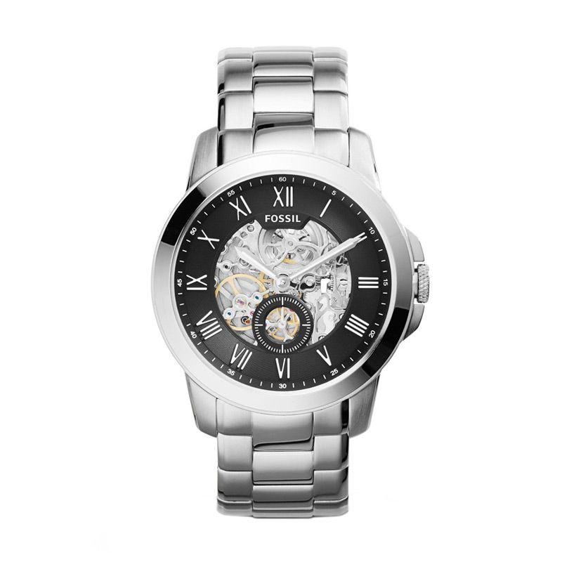 Fossil Grant Automatic ME3055 Silver Jam Tangan Pria