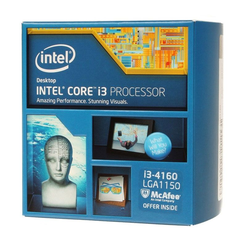 Intel Core I3-4160 Processor (3.6 Ghz Quad Core/Cache 3M/Socket LGA 1150/Garansi 3yr) BX80646I34160