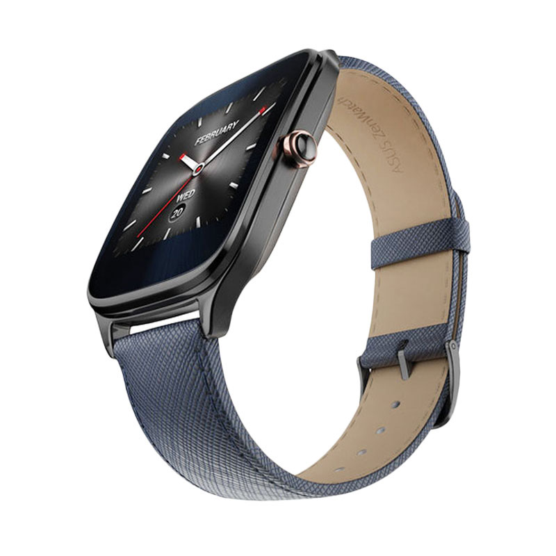 harga Asus Zenwatch 2 WI501Q Leather Smartwatch - Dark Blue Blibli.com