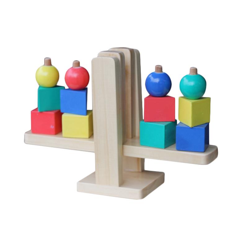 Atham Toys Geo Balance Natural Mainan Kayu