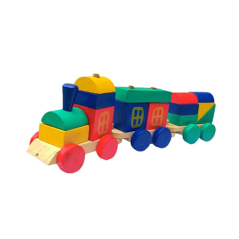 Atham Toys Kereta Kayu Pelangi Mainan Kayu Edukatif