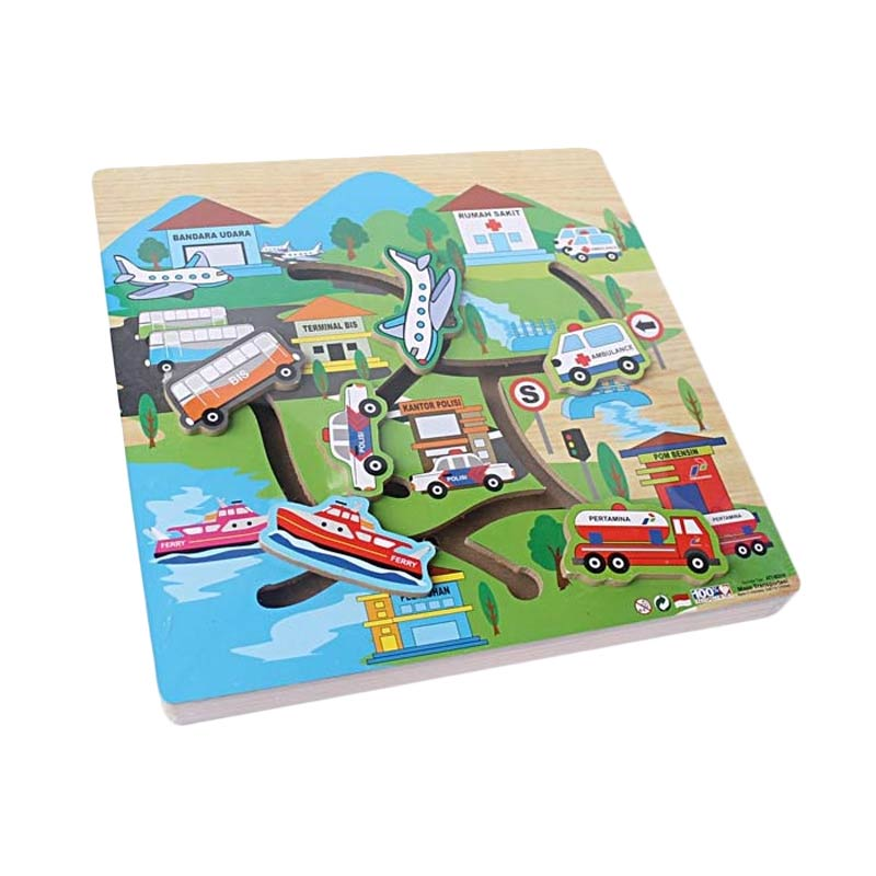 Atham Toys Mainan Kayu Edukatif Maze Transportasi Mainan Anak