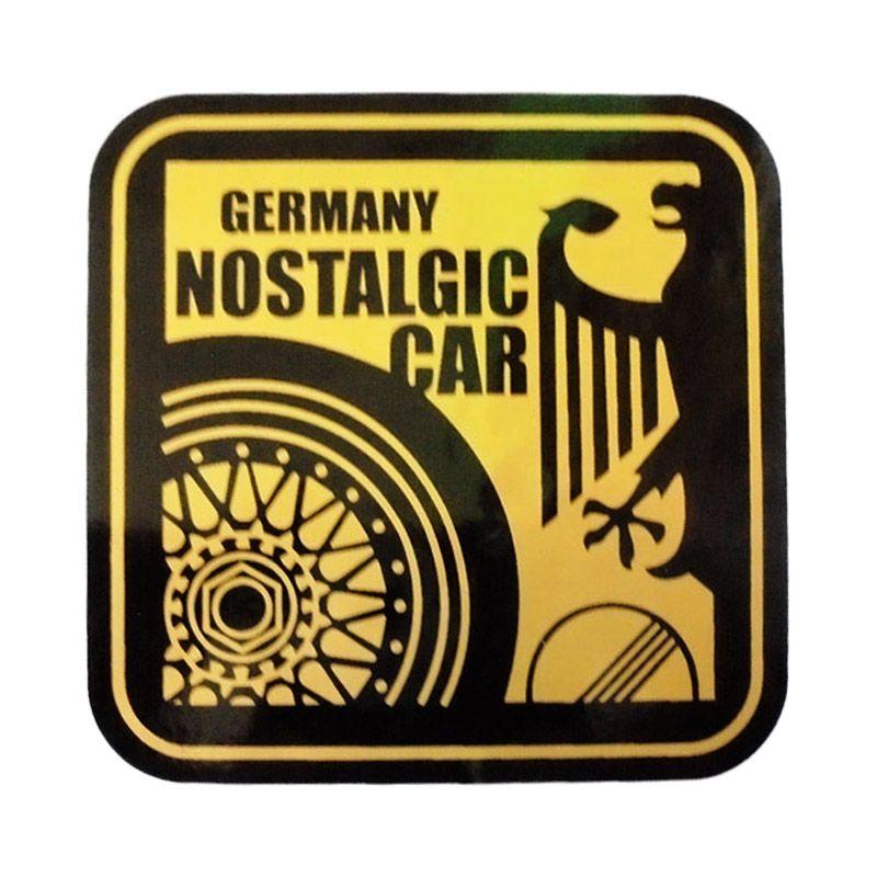 Automilshop Germany Nostalgic Car Gold Black Stick On Stiker Kaca Mobil