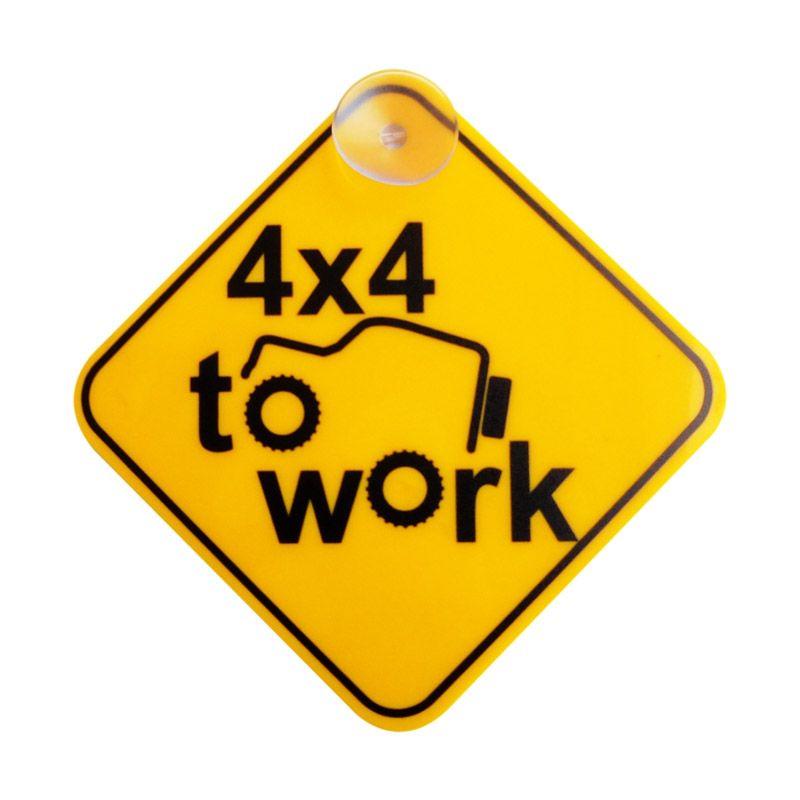 Automilshop 4x4 To Work Kuning Sign Board Aksesoris Mobil