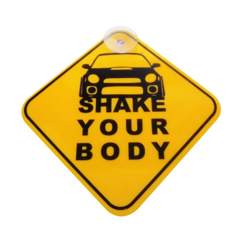 Automilshop Shake Your Body Kuning Sign Board Aksesoris Mobil
