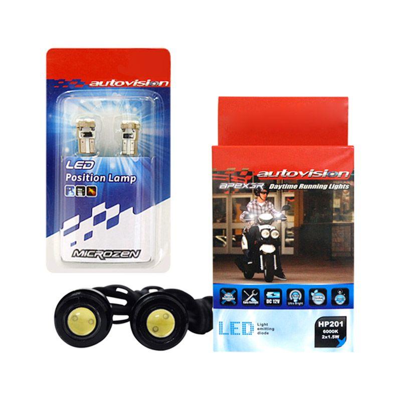 Autovision Apex 3R DRL HP201 dan Microzen T10 5SMD