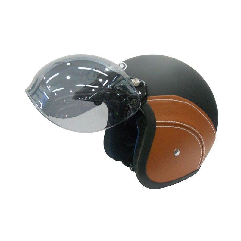 AVA Retro Bogo Leather Cokelat Helm Half Face