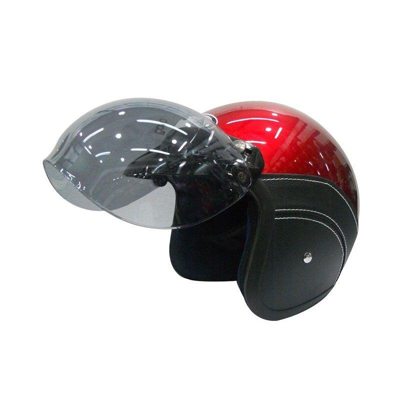 AVA Retro Bogo Leather Merah Helm Half Face