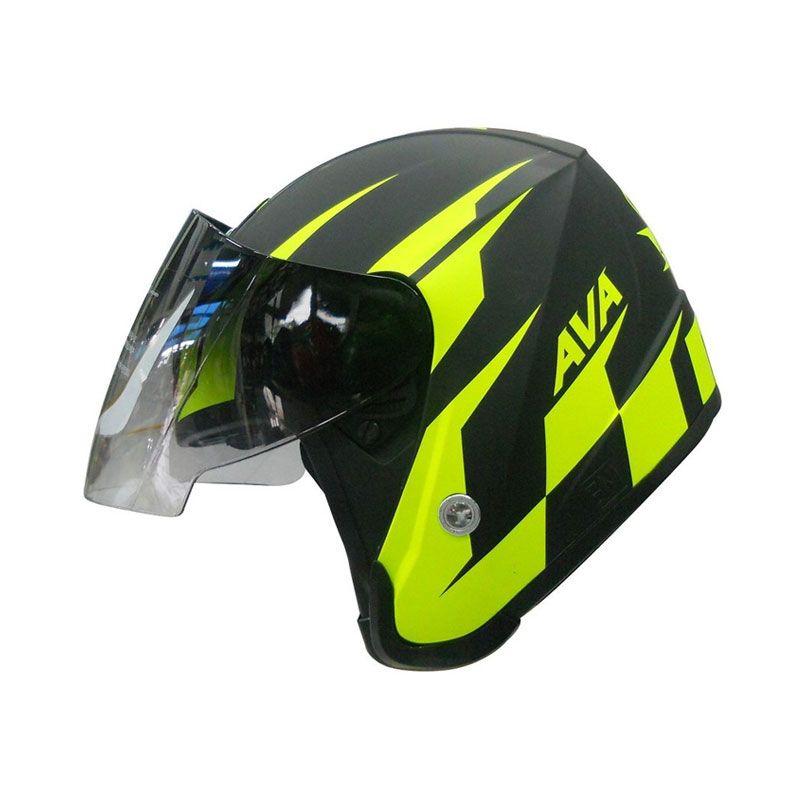 AVA Seri MotoGP Hitam Hijau Stabilo Helm Half Face