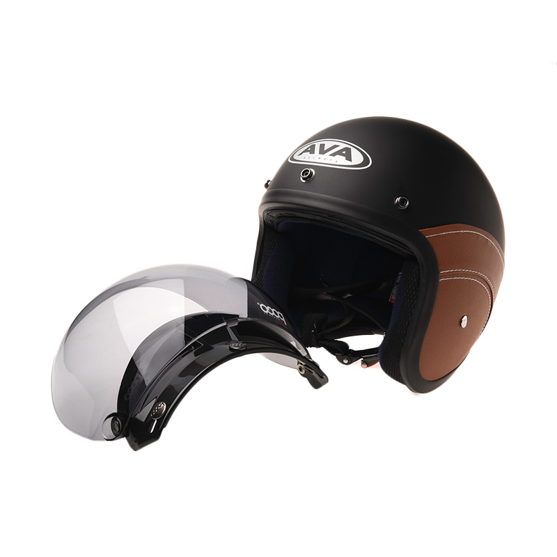 Jual AVA Fashion Retro Bogo Leather Helm Half Face Online