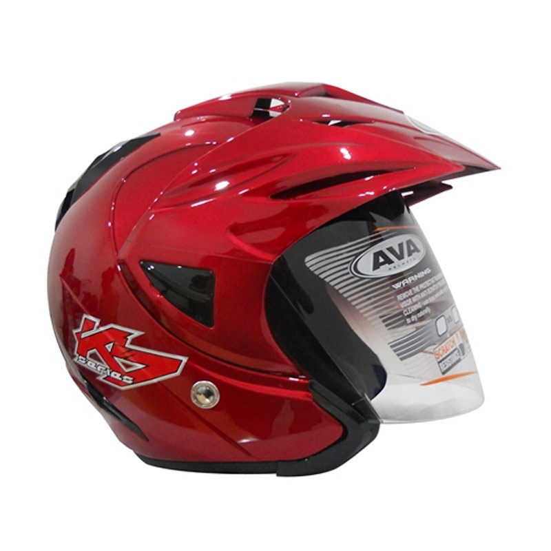 AVA K7 Falcon Helm Half Face - Red Maroon Solid