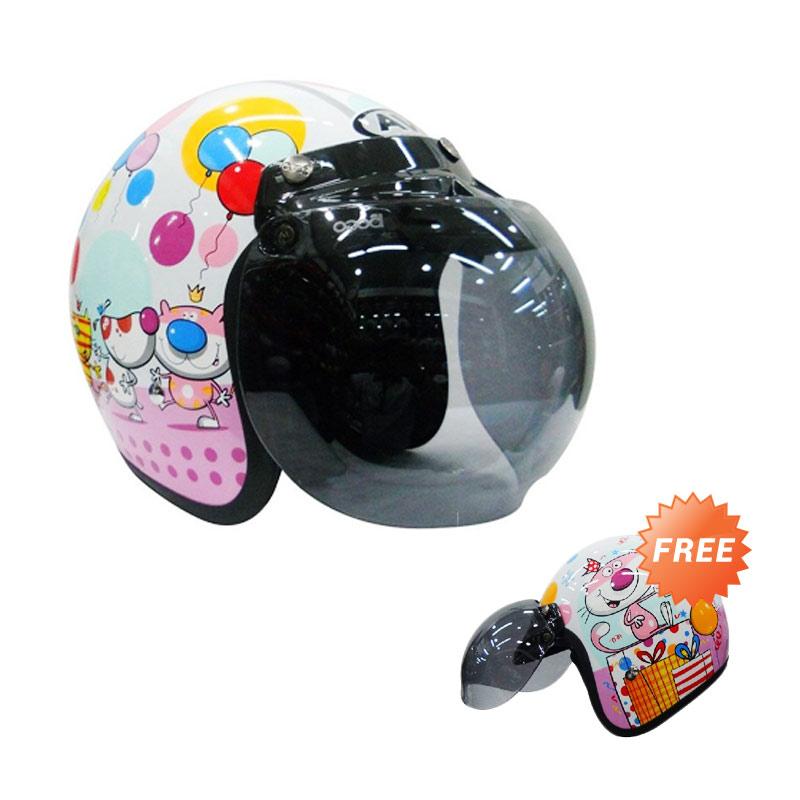 Buy 1 AVA Helm Half Face Fashion Retro Bogo Cute Puppy [size M] Get 1 Free AVA Helm Half Face Fashion Retro Bogo Cute Cat Size M