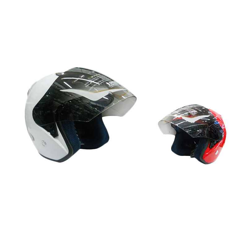 Buy 1 AVA Helm Half Face SS7 Centro White [Size M] Get 1 Free AVA Helm Half Face SS7 Centro Red Size M