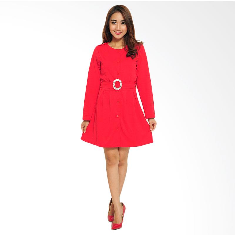 Ayako Fashion Dress Midi Xiata - Merah
