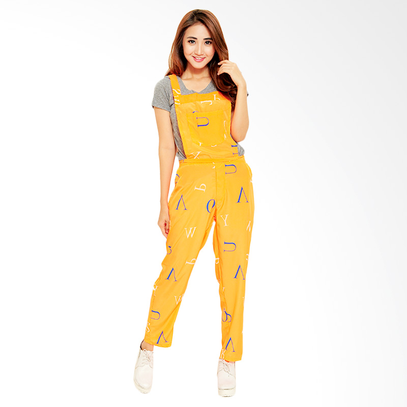 Ayako Fashion Jumpsuit Alphabet - Orange