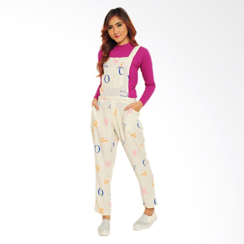 Ayako Fashion Jumpsuit Alphabet - White