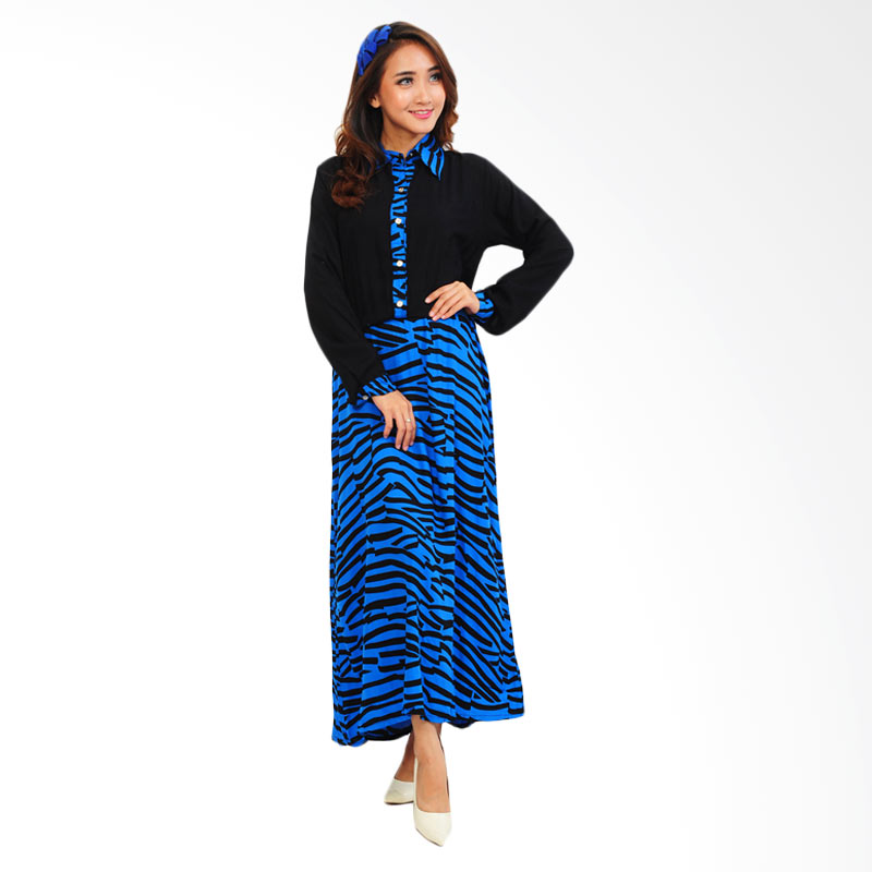 Ayako Fashion Maxi Zebra Dress - Biru
