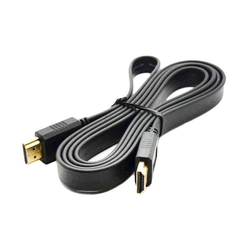 Azkalisha HDMI Male to Male Flat Hitam Kabel HDMI [5 m]