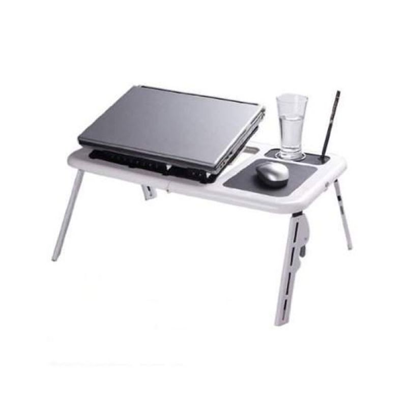 E-Table Portable with Cooling Fan Putih Meja Laptop