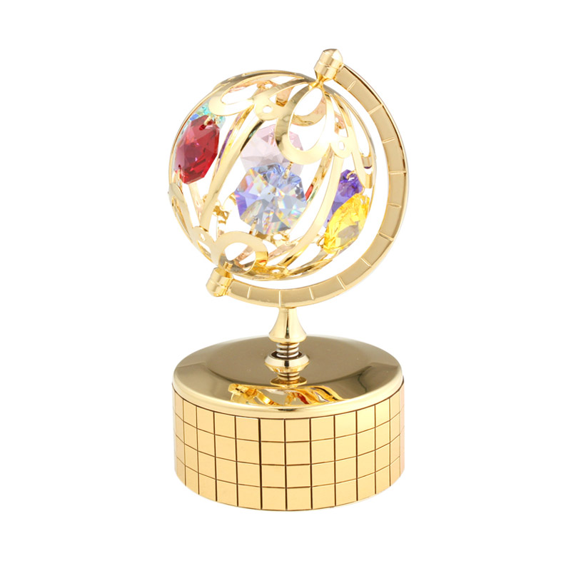 harga Azurist Royalcraft Brilliant Globe Crystal Swarovski Music Box Kotak Musik Pajangan - Gold Blibli.com