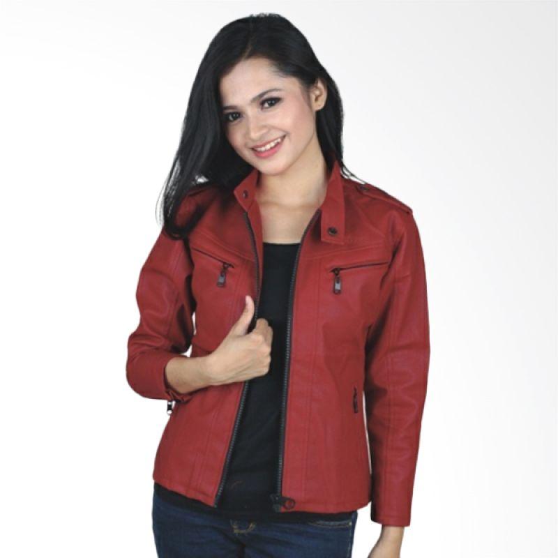 Catenzo Semi Leather Red Jaket Wanita