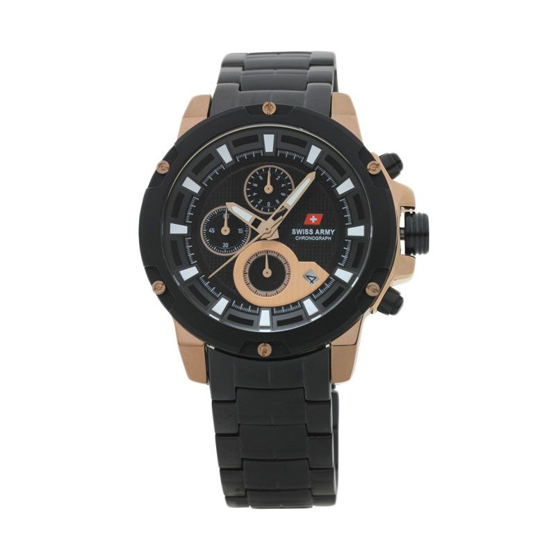 Swiss Army SA 2059 G Chronograph Hitam Rose Gold Jam Tangan Pria