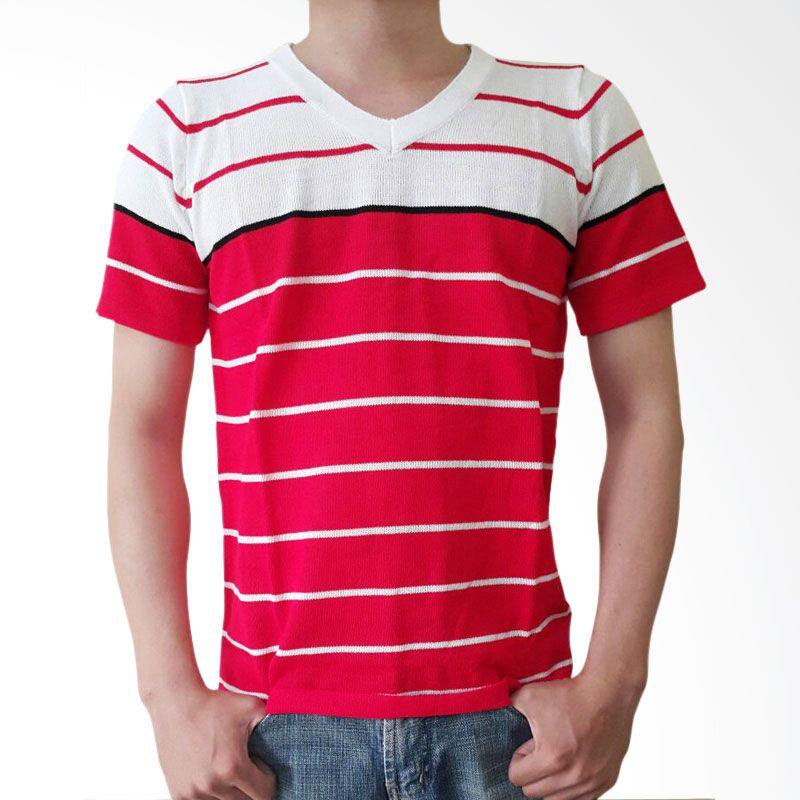 B2 Shop Kaos Rajut V Red Atasan Pria