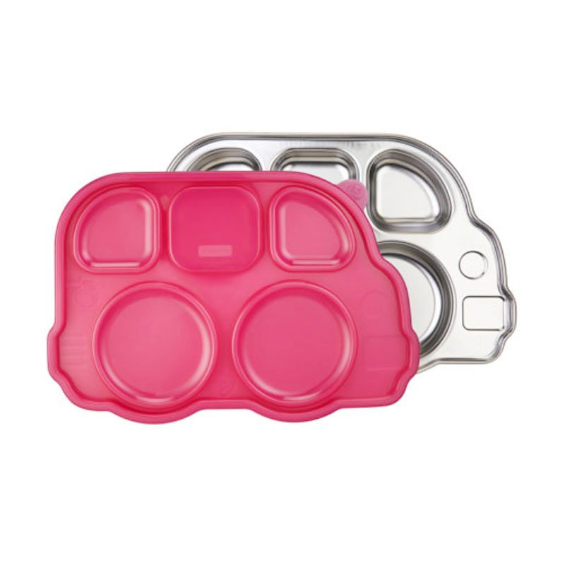 Innobaby Din Din Smart Stainless Divided Platter with Sectional Lid Pink
