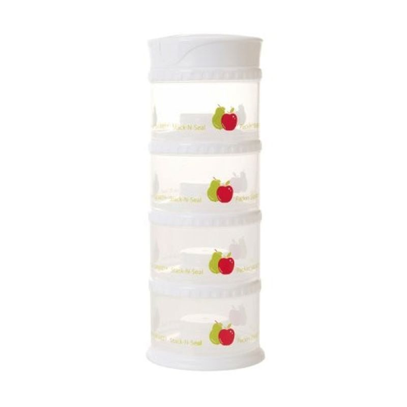 Innobaby - Packin SMART Stack-N-Seal 4 Tier Set White Fruit - Tempat Susu Bubuk