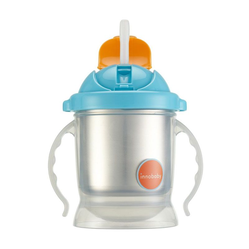 Innobaby Sippin Smart Ez Flow Straw Stainless Sippy Blue Botol Minum