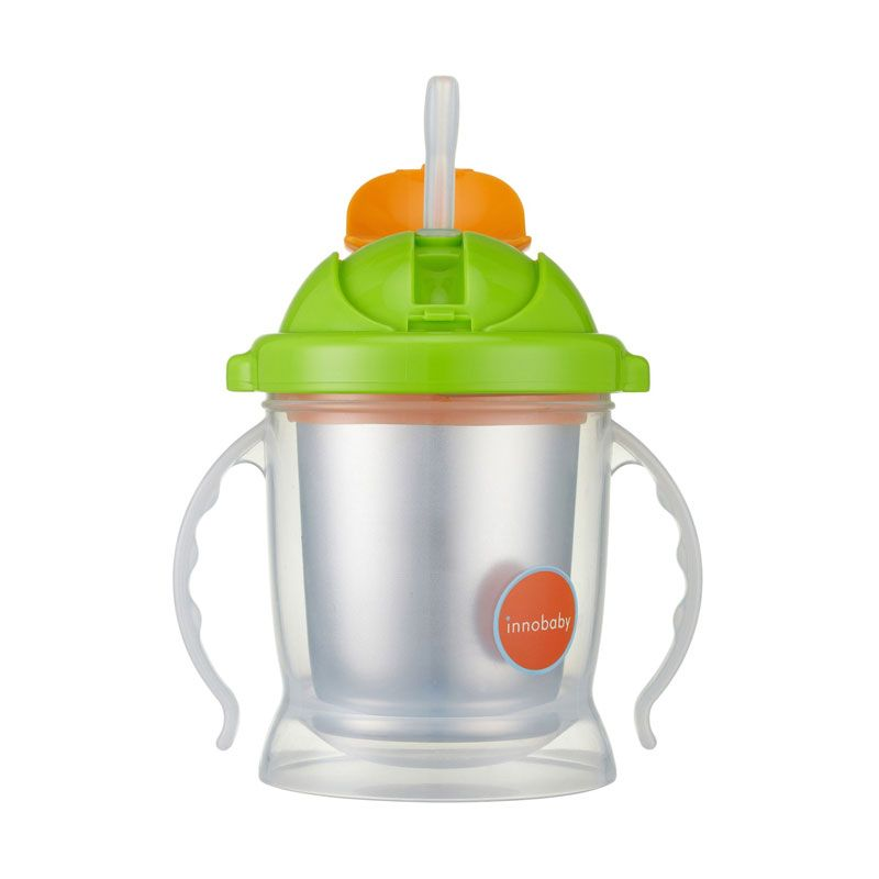 Innobaby Sippin Smart Ez Flow Straw Stainless Sippy Green Botol Minum