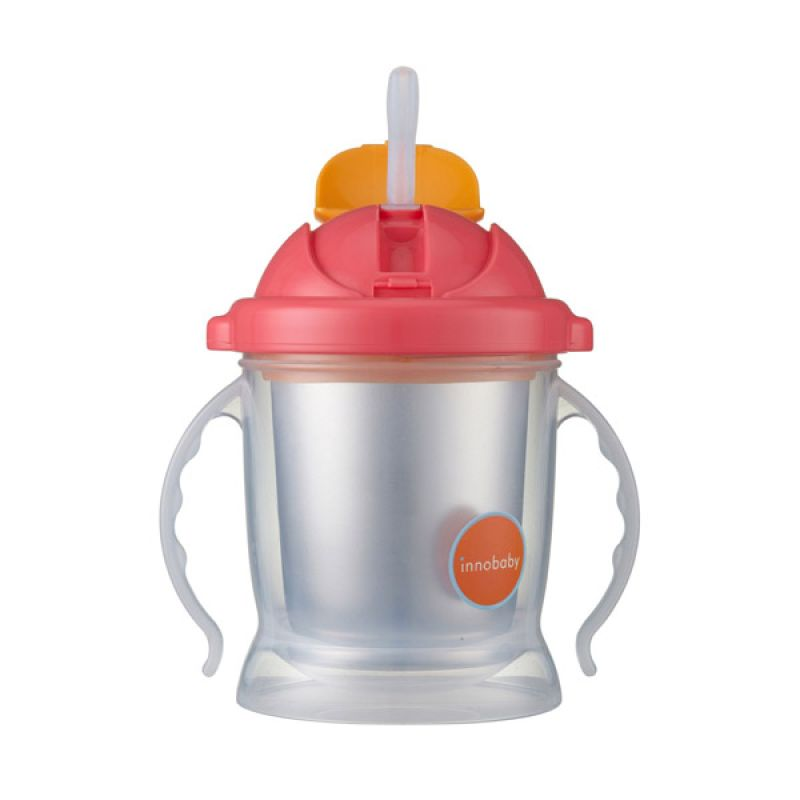 Innobaby Sippin Smart Ez Flow Straw Stainless Sippy Pink Botol Minum