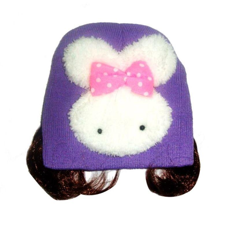 White Rabbit Purple Bunny Big Hat Topi Bayi