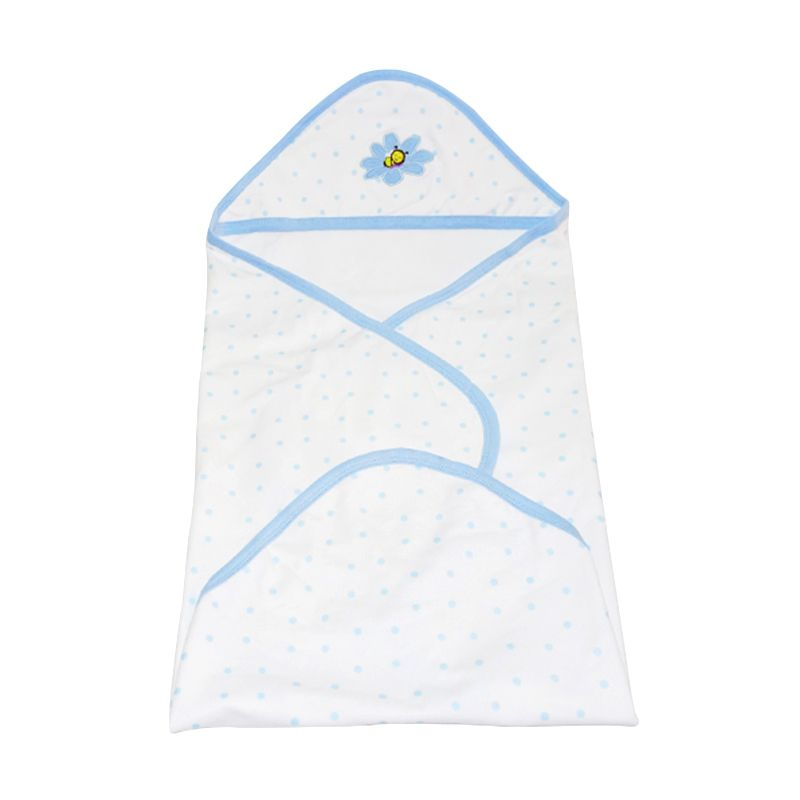 Babybee Blanket Hooded Luxurious Blue Selimut Bayi